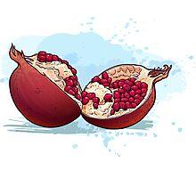pomegranate cut in half. Photographic Print
