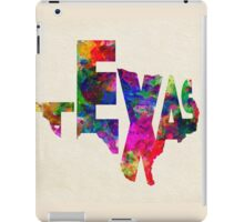 Texas Typographic Watercolor Flag iPad Case/Skin