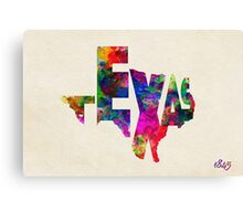 Texas Typographic Watercolor Flag Canvas Print