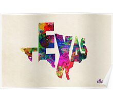 Texas Typographic Watercolor Flag Poster