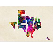 Texas Typographic Watercolor Flag Photographic Print