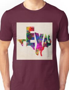 Texas Typographic Watercolor Flag Unisex T-Shirt
