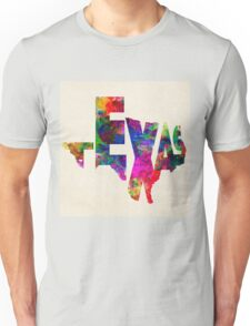 Texas Typographic Watercolor Flag Unisex T-Shirt