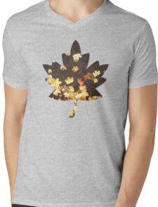 Gold yellow maple leaves autumn asphalt road Mens V-Neck T-Shirt