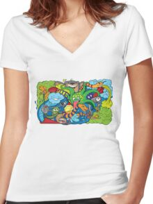 doodle of crazy sea-life creatures having fun 2 Women's Fitted V-Neck T-Shirt