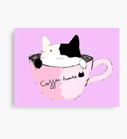 coffee house cat Canvas Print