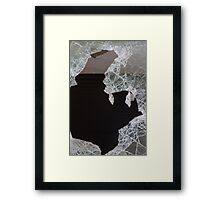 Old window with broken glass Framed Print