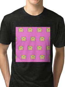 Cute,pink,cool cat with glasses, geek cat pattern, modern,trendy,hipster,fun,happy,cool,kid,kids,children,girly Tri-blend T-Shirt