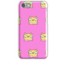 Cute,pink,cool cat with glasses, geek cat pattern, modern,trendy,hipster,fun,happy,cool,kid,kids,children,girly iPhone Case/Skin