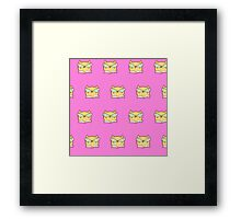 Cute,pink,cool cat with glasses, geek cat pattern, modern,trendy,hipster,fun,happy,cool,kid,kids,children,girly Framed Print