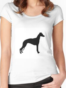 whippet silhouette Women's Fitted Scoop T-Shirt