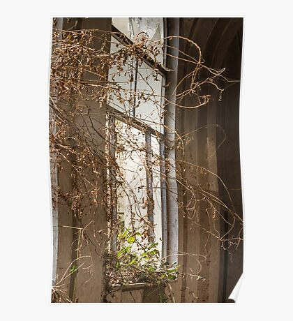 Old window in abandoned house Poster