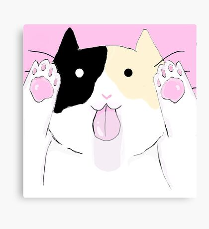Calico licking your screen Canvas Print