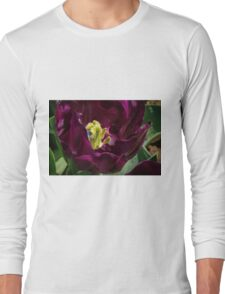 Centre of a Dark Purple Tulip at Tesselaar Victoria Australia 20160923 7542  Long Sleeve T-Shirt
