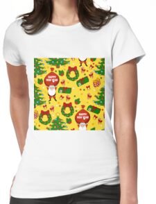 Happy new year pattern with Santa Claus, christmas tree, gifts, bell, stars, wreath. Funny pattern on a yellow background. Womens Fitted T-Shirt