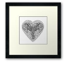 One Love Elephants Drawing Framed Print