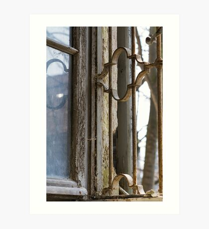 Old window with broken glass Art Print