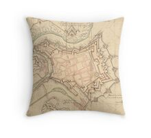 Vintage Map of Luxembourg (1686) Throw Pillow
