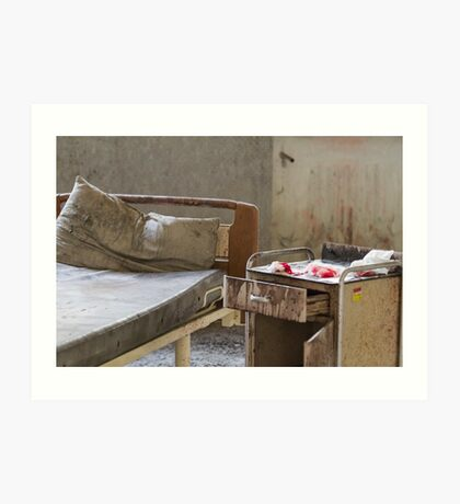 abandoned hospital bed Art Print