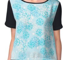 Snow design, gentle, blue with snowflakes of different sizes. Chiffon Top