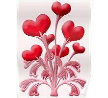 Valentines Love Blossoms Heart Flowers Poster