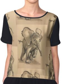 Baby Elephant at Play - Ink wash & crow quill pen painting Chiffon Top