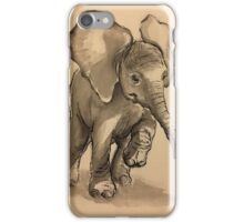 Baby Elephant at Play - Ink wash & crow quill pen painting iPhone Case/Skin