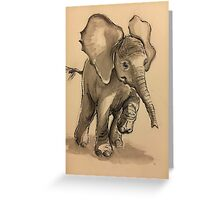 Baby Elephant at Play - Ink wash & crow quill pen painting Greeting Card