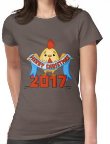 Cartoon New Year card with funny rooster on a white background. Isolated cock vector illustration. Vector illustration of rooster, symbol of 2017 on the Chinese calendar. Womens Fitted T-Shirt