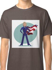 cartoon of Hillary Clinton as a super hero. Classic T-Shirt