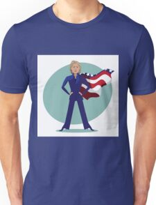 cartoon of Hillary Clinton as a super hero. Unisex T-Shirt
