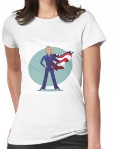 cartoon of Hillary Clinton as a super hero. Womens Fitted T-Shirt