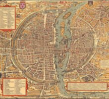 Vintage Map of Paris (1575)  by BravuraMedia