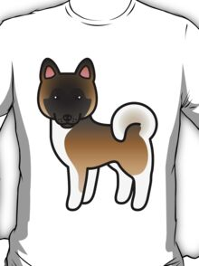 Brown With Black Mask Akita Dog Cartoon T-Shirt