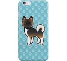 Brown With Black Overlay Akita Dog Cartoon iPhone Case/Skin