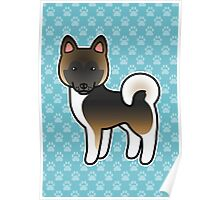 Brown With Black Overlay Akita Dog Cartoon Poster
