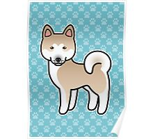 Fawn With White Mask Akita Dog Cartoon Poster