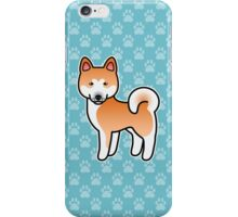 Red With White Mask Akita Dog Cartoon iPhone Case/Skin