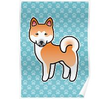 Red With White Mask Akita Dog Cartoon Poster