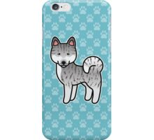 Silver Brindle Akita Dog Cartoon iPhone Case/Skin