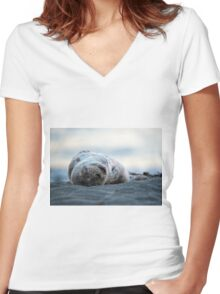 Nap on the Beach Women's Fitted V-Neck T-Shirt