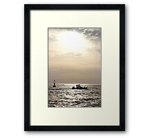The Boat and the Fading Sun - Bay of Arcachon, France. Framed Print