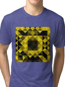 Black and Yellow Mosaic Triangles and Squares Tri-blend T-Shirt