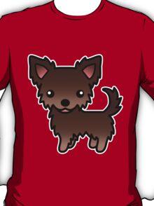 Chocolate Long Coat Chihuahua Cartoon Dog T-Shirt