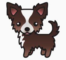 Chocolate And White Long Coat Chihuahua Cartoon Dog Kids Clothes
