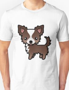 Chocolate And White Long Coat Chihuahua Cartoon Dog T-Shirt