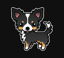 Black Tricolor Long Coat Chihuahua Cartoon Dog T-Shirt