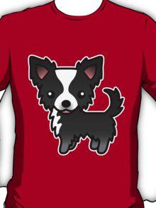 Black And White Long Coat Chihuahua Cartoon Dog T-Shirt