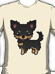 Black And Tan Long Coat Chihuahua Cartoon Dog T-Shirt