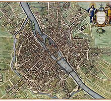 Vintage Map of Paris (1657)  by BravuraMedia